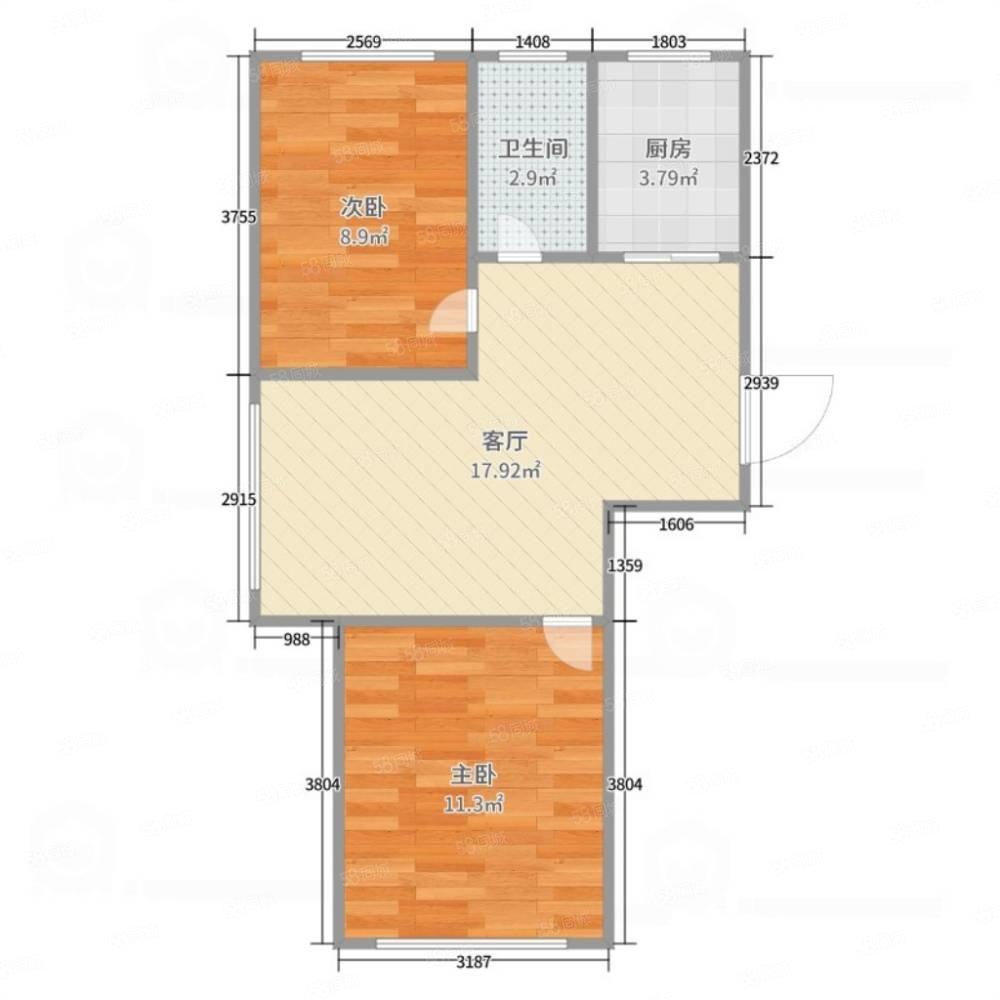阅江城 2室1厅1卫 84㎡