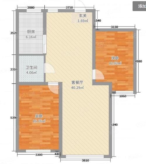 阅江城 2室1厅1卫 70.44㎡